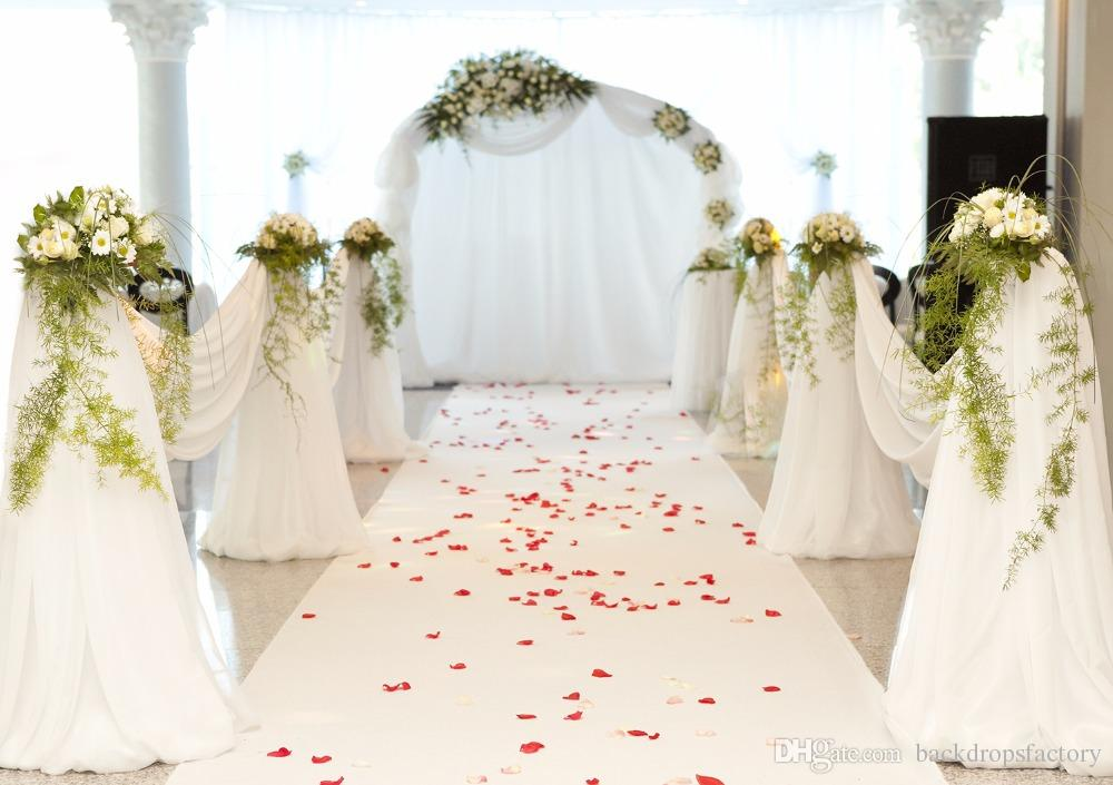 2019 Romantic White Carpet Wedding Backdrops Red Rose Petals Soft