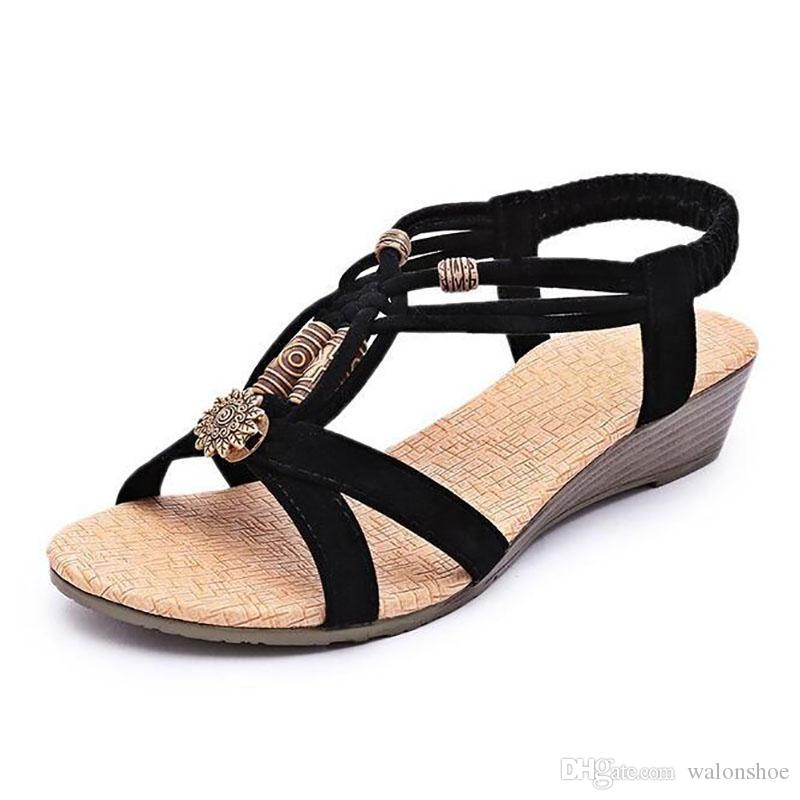 Summer Vintage Women Sandals Gladiator Wedge Woman Beach Bohemia Shoes