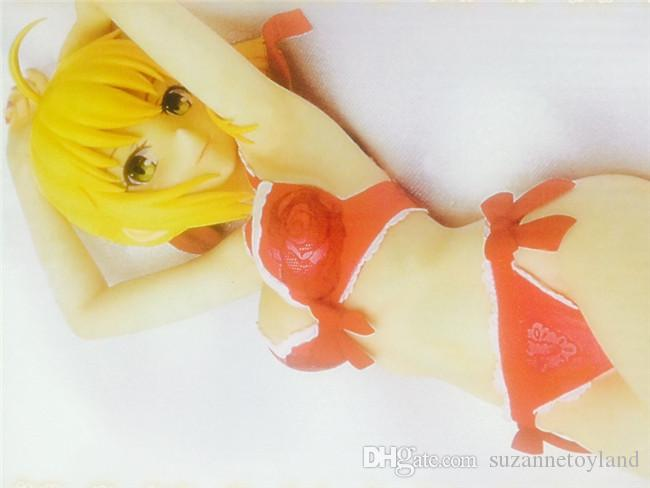Suzannetoyland Wholesale sexy girl 18cm Fate Stay Night Saber Lily Sexy Red Lingerie Ver. Saber Doll PVC Action Figure