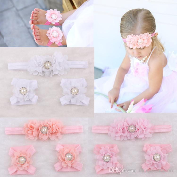1725c63f8188 Fashion Baby Accessories Infant Kids Headbands And Foot Flower Matching Set Baby  Girls Sandals Barefoot Sandals Baby Shoes Toddler Shoes Hair Accessories ...