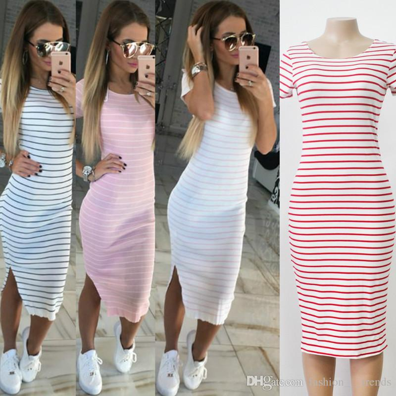 1a3dcefe2 7Casual Summer Women Dress Short Sleeve Round Neck Slim Fit Bodycon Dress  Striped Side Split T Shirt Knee Length Fashion Sexy Sheath Dresses Cocktail  ...