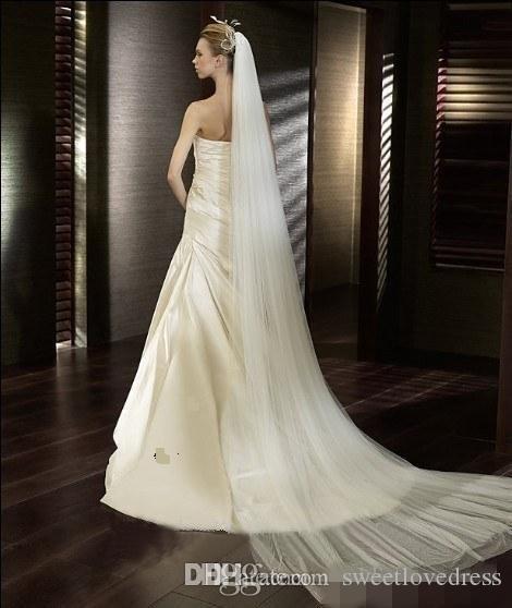 재고 있음 저렴 한 신부 웨딩 베일 3m 한 레이어 흰색 아이 보 리 신부 베일 빗 긴 간단한 얇은 벨트 웨딩 베일