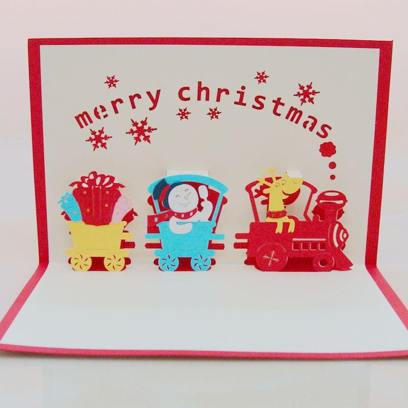 Lovely Train Folding Christmas Cards Children Christmas Gift Pocket ...