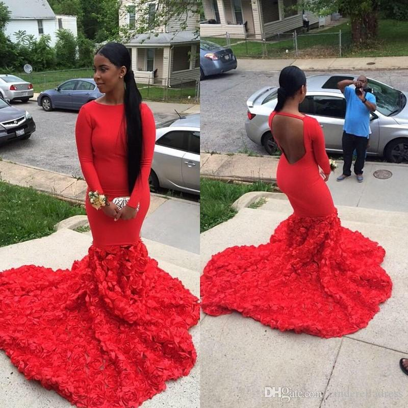 2K17 Kaftan Arabic Vintage Bateau Mermaid Long Sleeves Red Evening Dresses Plus Size Custom Made Prom Gowns With Open Backless
