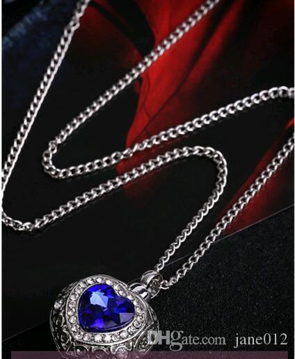 Wholesale Personality Blue Gem Heart Pendant Necklace with Rhinestone Love Ocean Heart ashes box Jewelry 24 inches Chain