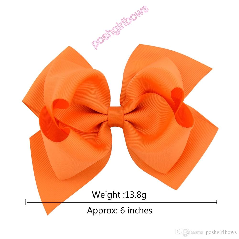 6Inch Girls Large Double Layers Hair Bow Grosgrain Ribbon with Alligator Clips