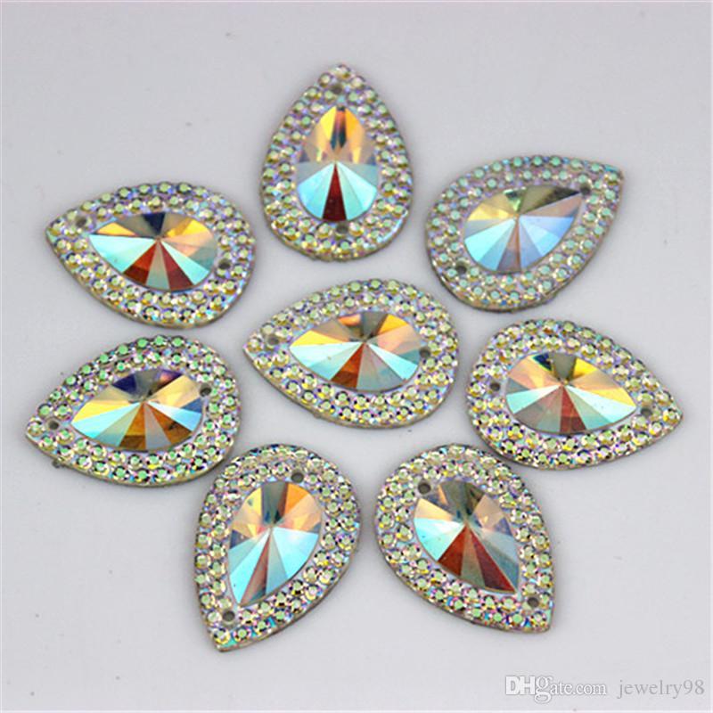 13 * 18mm 100 sztuk / partia AB Crystal Superior Tajwan Akrylowe Płaskie Pleasek Kształt Akrylowy Rhinestone Szyć na 2 dziury Koraliki ZZ3