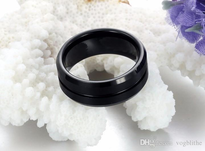 8mm Black Men Tungsten Carbide Ring Wedding Engagement Band Promise Rings Comfort Fit High Quality men jewelry US Sizes 7-12