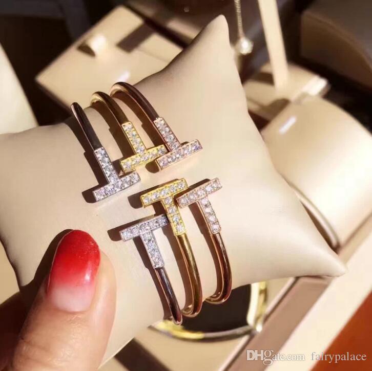 2017 Zircônia Cúbica de duas letras T Forma Pulseiras Design De Cobre 18 K Banhado A Ouro Cuff Bracelet Bangle Cufflink Duplo T Pulseira do Dia Dos Namorados