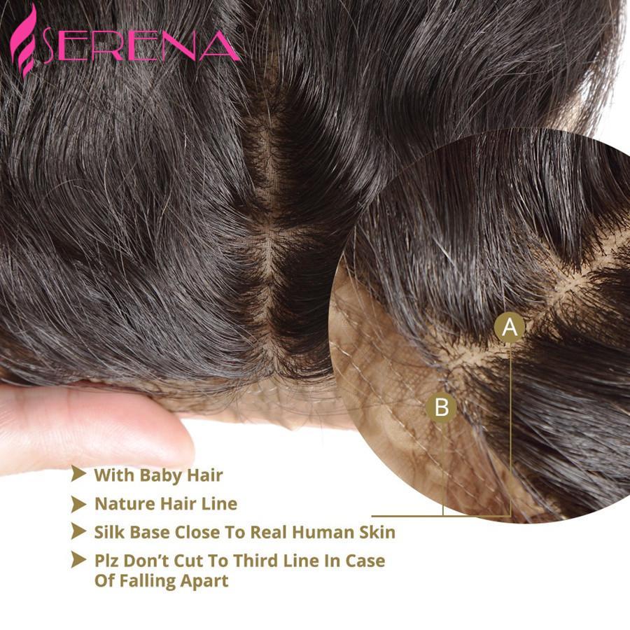 8A Onda del cuerpo peruano Base de seda Cierre frontal Libre Medio 3 partes Frontal de encaje con pelo de bebé 13x4 100% Nudos blanqueados Extensiones de cabello