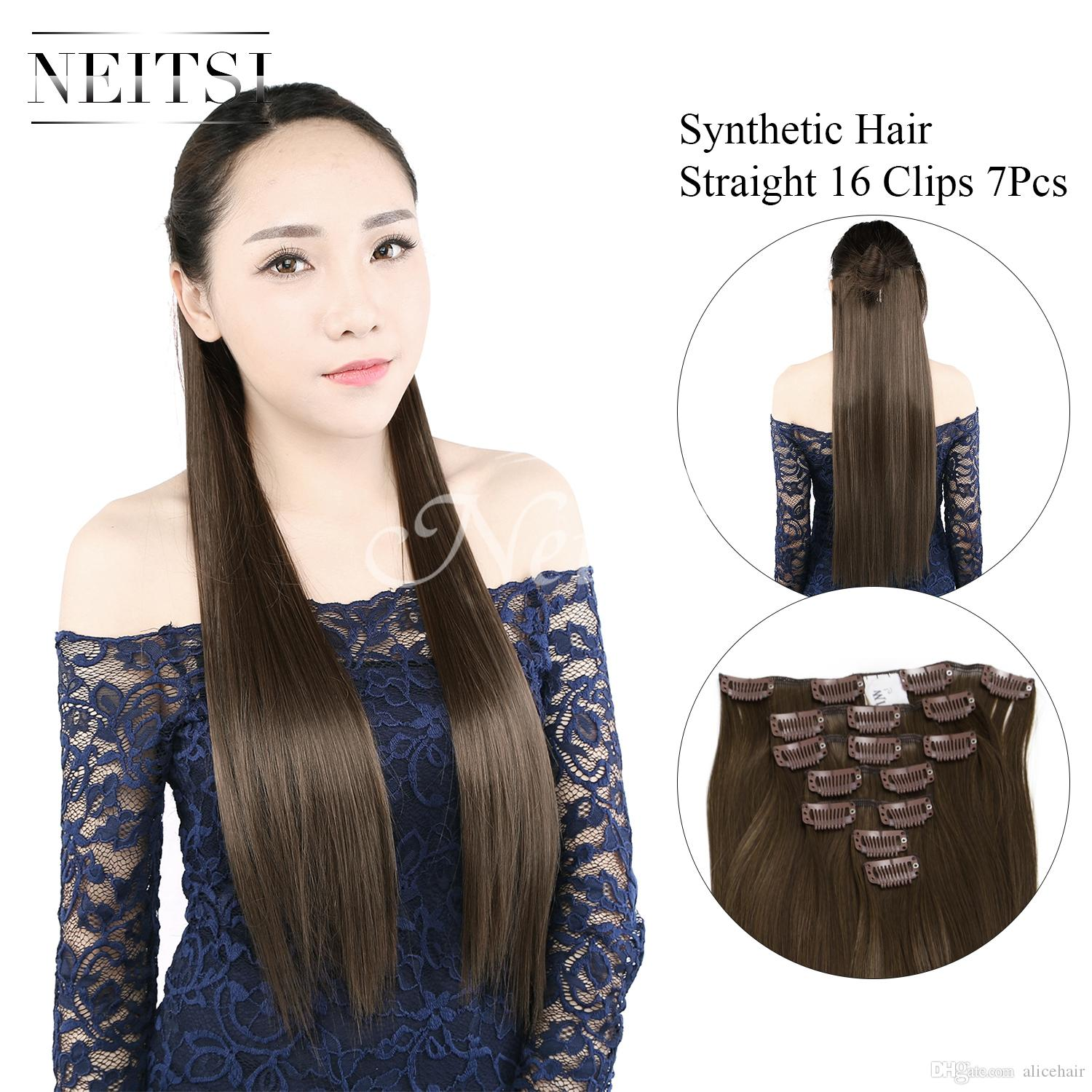 Neitsi Clip In Hair Extensions Straight Long Hair Clip On Hairpieces