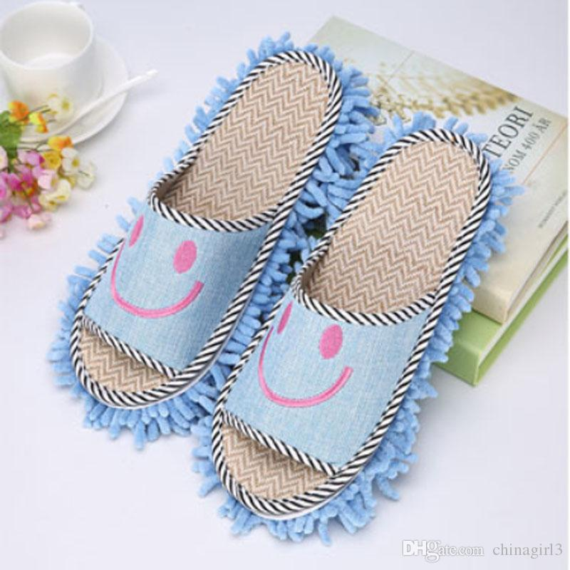 House Bathroom 11*27 cmMicrofiber Floor Cleaning Mop Dust Cleaner Cute SmileSlippers Detachable Floor Wipe Chenille Lazy Shoes