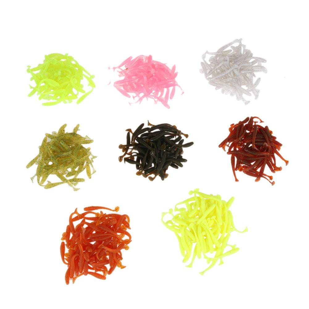 50 قطع 50 ملليمتر / 2 جرام لينة السحر الاصطناعي لوش الصيد الطعم swimbait دودة معالجة الصيد إغراء كيت لون عشوائي