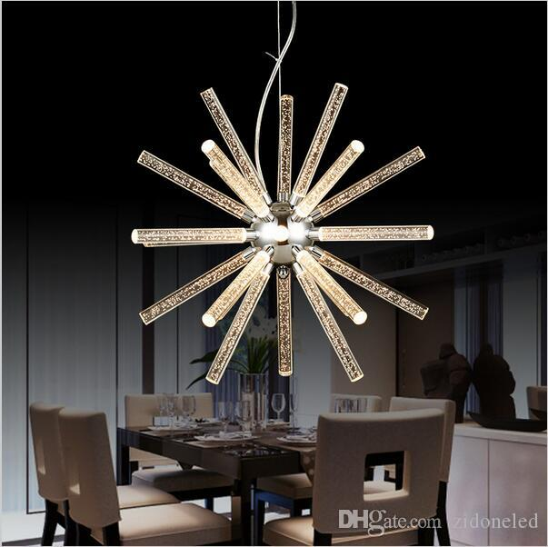 Creative modern minimalist modern led hanging pendant lights acrylic chandelier for shop bar dining kitchen room ac85 265v led pendant light metal pendant