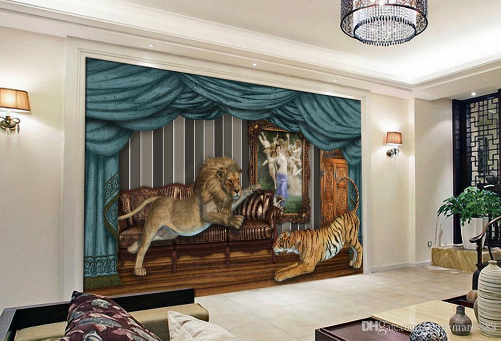 3d Wallpaper Mural Custom Luxury Gold Wallpaper For Living Room Lion Tiger  Background Wall High Quality Wallpapers Free Download High Res Desktop  Wallpaper ...