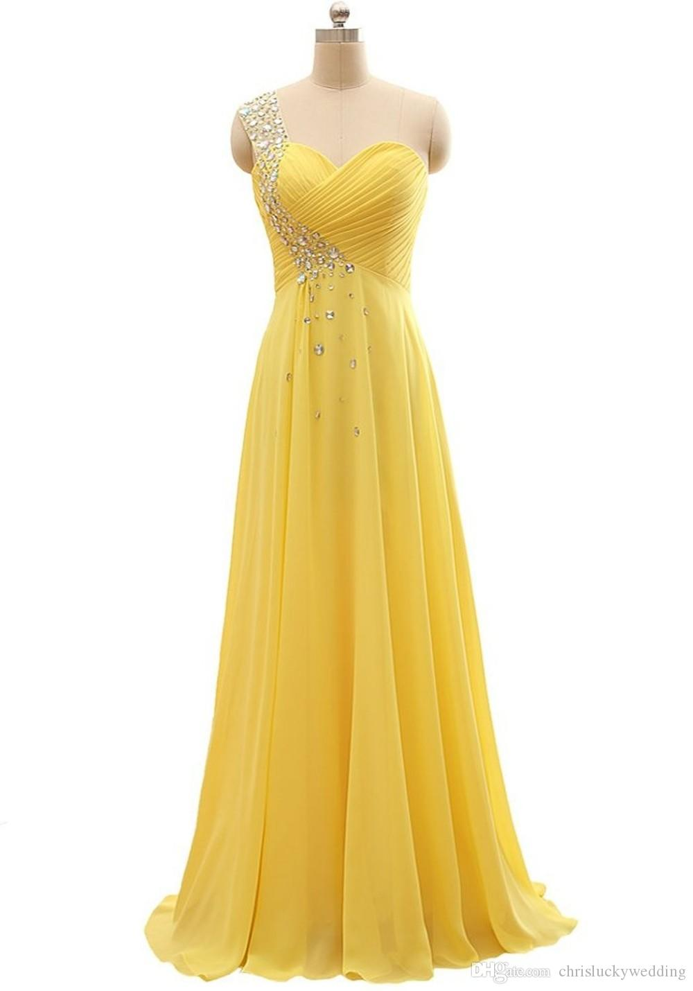 2017 yellow one shoulder chiffon bridesmaid dresses sleeveless 2017 yellow one shoulder chiffon bridesmaid dresses sleeveless custom formal beach maid of honor prom evening party gowns brides maid dress bridesmaid ombrellifo Gallery