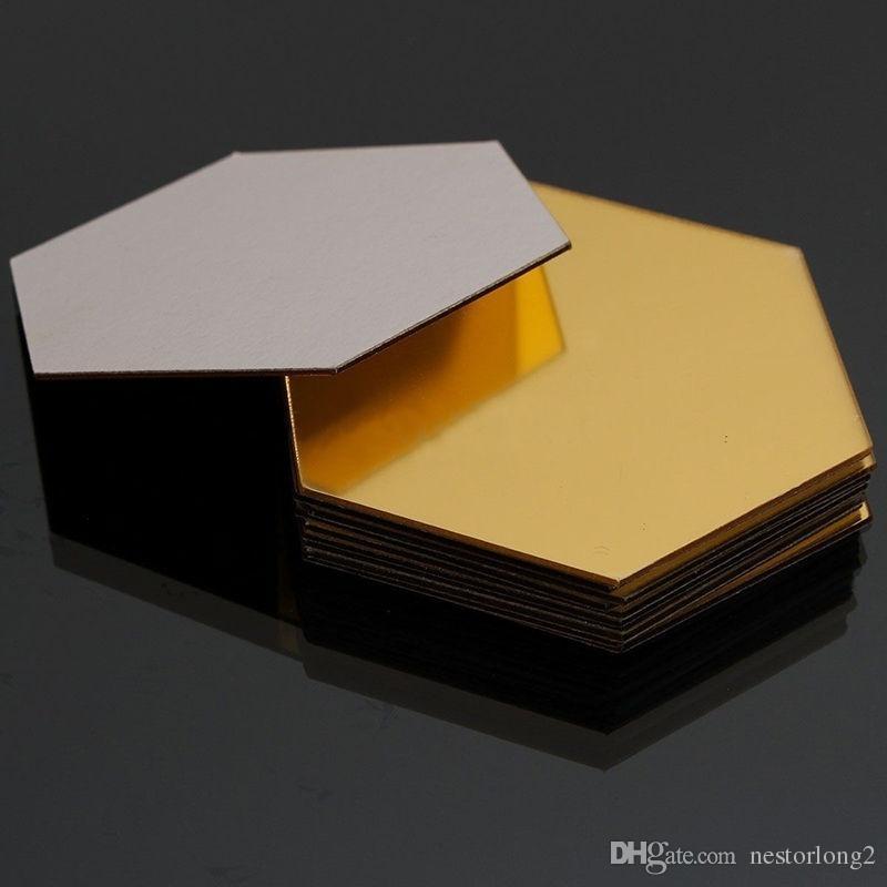 12 teile / satz 3D Spiegel Wandaufkleber Hexagon Vinyl Abnehmbare Wandaufkleber Aufkleber Wohnkultur Kunst DIY 8 cm