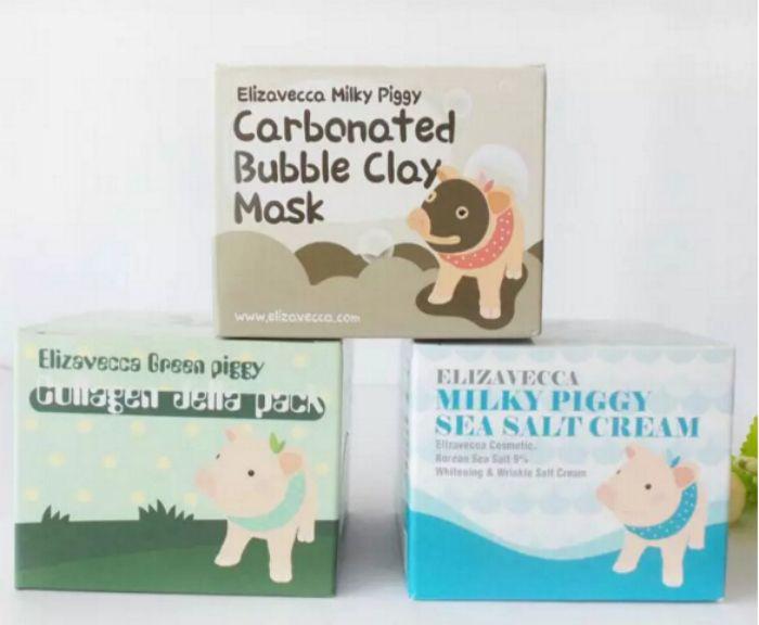 Makyaj sütlü piggy karbonatlı oksijen kabarcık kil Maskesi 100g kaldır siyah nokta yüz bakımı yüz uyku maskesi Elizavecca kil maskesi