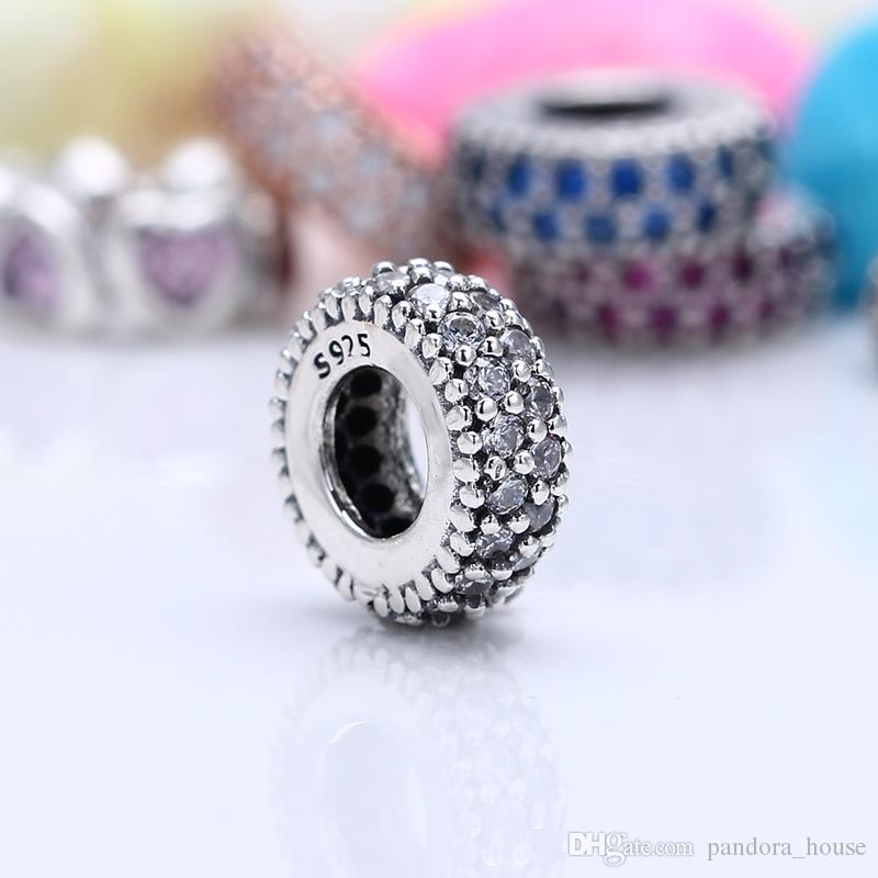 7ea9ece56 2019 100% Real 925 Sterling Silver Not Plated Pave Clear CZ Spacer Charms  European Charms Beads Fit Pandora Bracelet Clip DIY Jewelry From  Pandora_house, ...