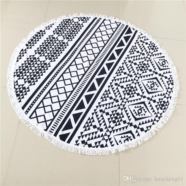 Vintage Print Beach Towel Polyester Round Yoga Mat with Tassel Bath Towel Vogue New Shawl Retro 150cm Designs Top Quality
