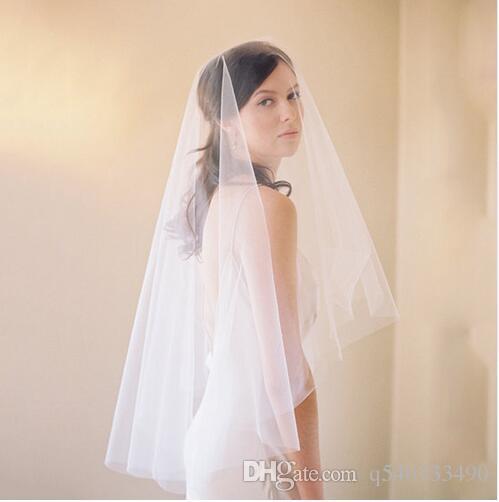 Couche 1 Accessoires de mariage Voile Ivoire Blanc Cut Bord Coude Voiles de mariée sans peigne