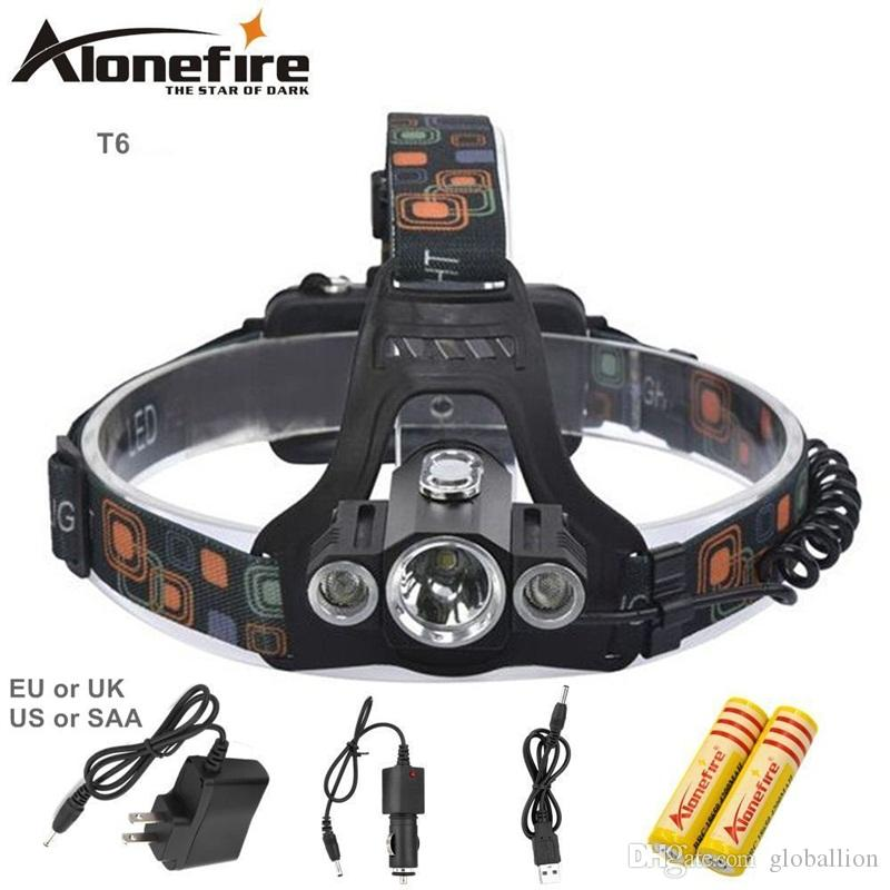 AloneFire HP98 8000Lm Phare multifonction T6 + 2R5 lampe frontale lampe frontale lampe extérieure lanterne pour chasse