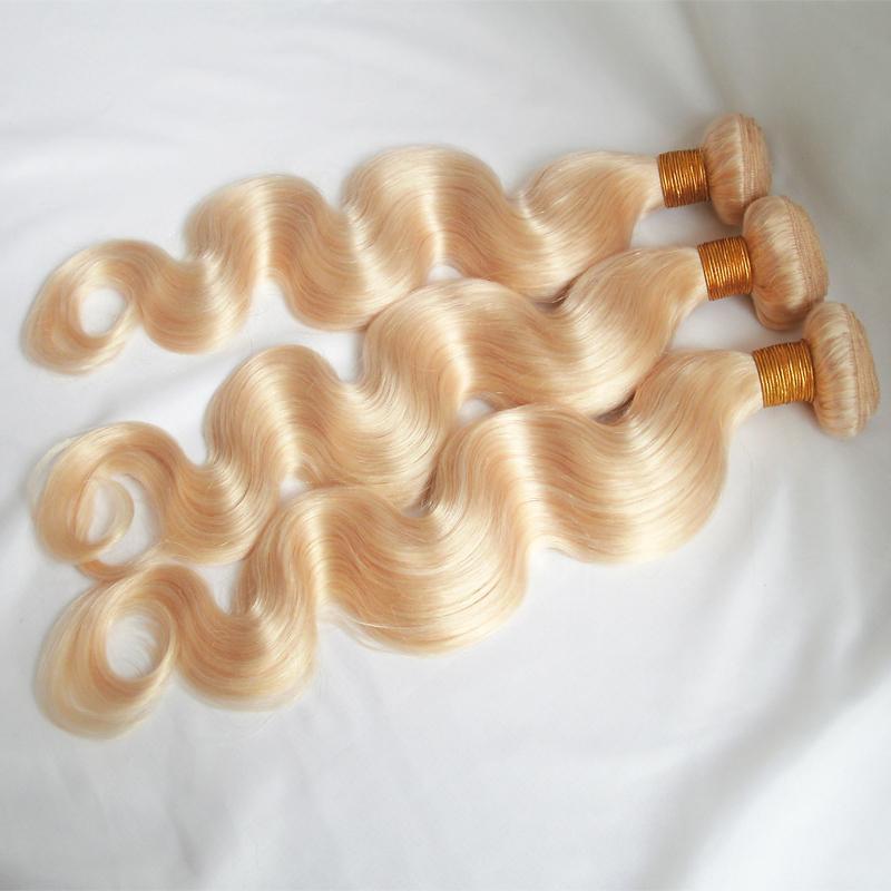 613 светлые человеческие волосы плетет бразильский перуанский малайзийский Индийский тела волны пучки волос двойной уток расширения 3 шт. Много