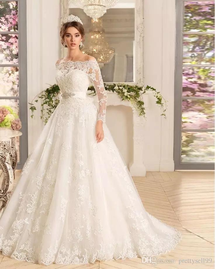 Benutzerdefinierte lange Ärmel Lace Appliques Eine Linie Brautkleider Brautkleider 2021 mit Perlen Sash Sweep Zug Tüll Plus Größe Braut Kleid