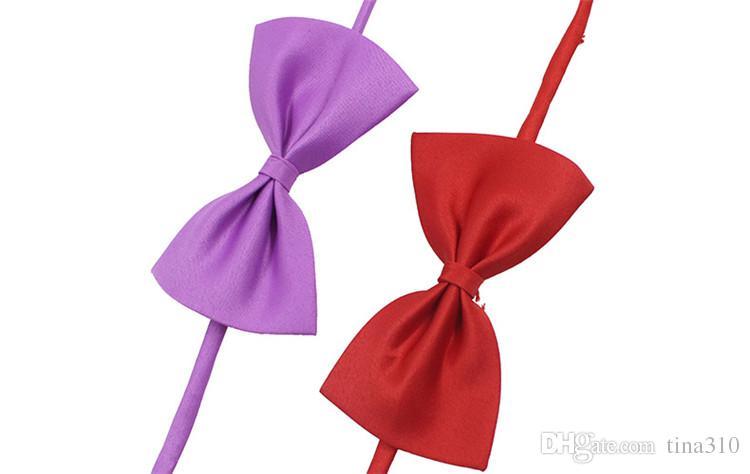 19 الألوان الحيوانات الأليفة ربطة عنق الكلب ربطة عنق طوق اللوازم الملحقات زهرة الديكور اللون النقي BOWKNOT ربطة عنق IA626