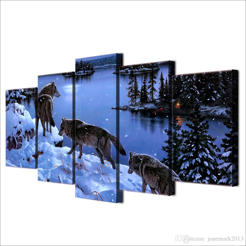 Framed HD Printed Snow Wolf lake Painting Canvas Print room decor print poster picture canvas /ny-4508