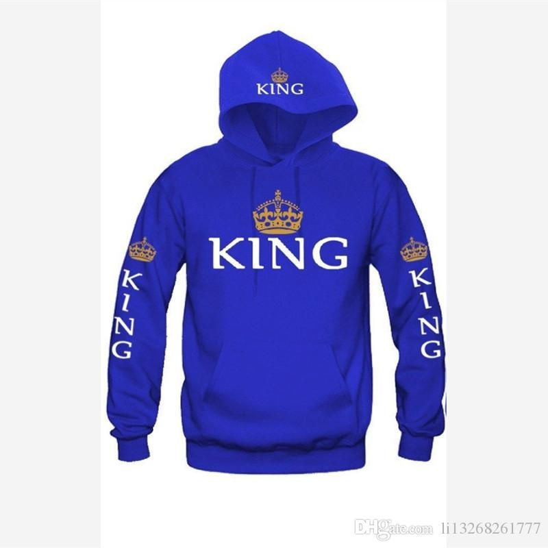 King and Queen Couple Hoodies Lettres à Manches Longues Et Couronne Pull Raglan manches amoureux