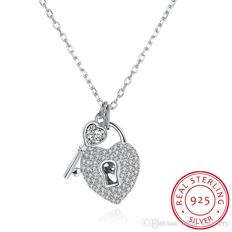 Wholesale solid 925 sterling silver pendant necklace lock and key wholesale solid 925 sterling silver pendant necklace lock and key design with glitter cz diamond romantic love luxury jewelry for woman wholesale silver mozeypictures Gallery