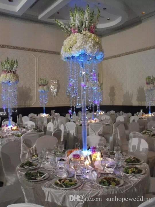 Tall Crystal Acrylic Wedding Pillar Columns For Aisle