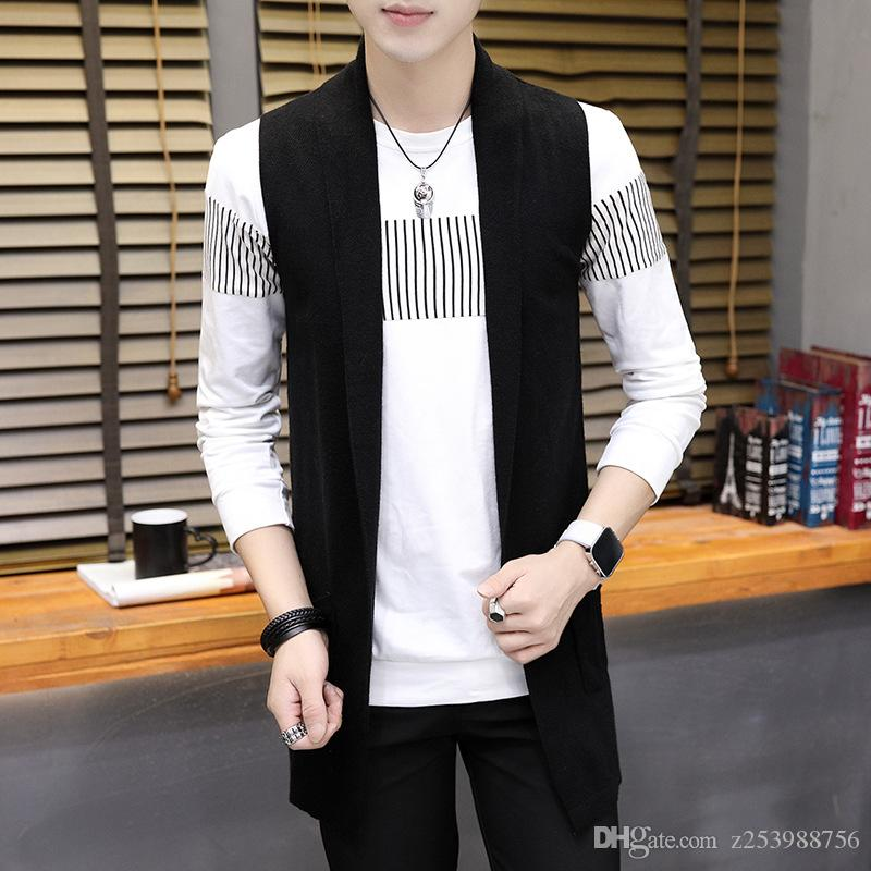 Autumn Men's Sweater Long Style New Fashion Casual Self ...