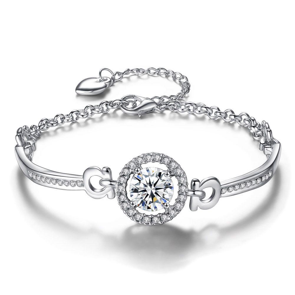 Women rhinestone Diamonds bracelet chains fashion Charm pendant Bracelets jewelry Valentine 's Day gift for girlfriend hot