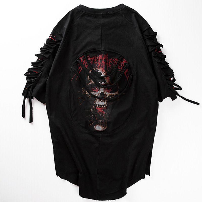 Holes Mens T Shirt 2017 Summer Ripped Round Hemline Hip Hop Sulls Print Fashion Cotton Loose Urban Longline Extended Tees