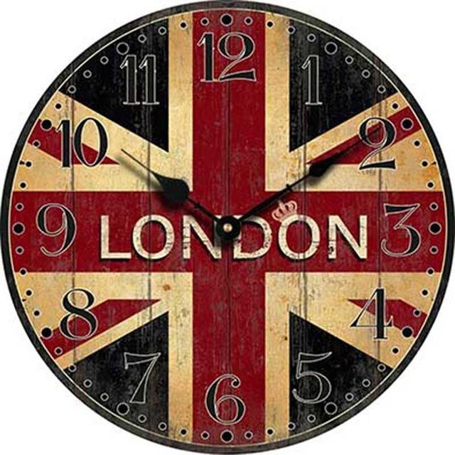 b61782c34c6 Compre Atacado Londres Relógio De Parede De Madeira Londres Bandeira Grande  Quarto Decorativo Clássico Do Vintage Relógios De Parede Decoração De Casa  ...