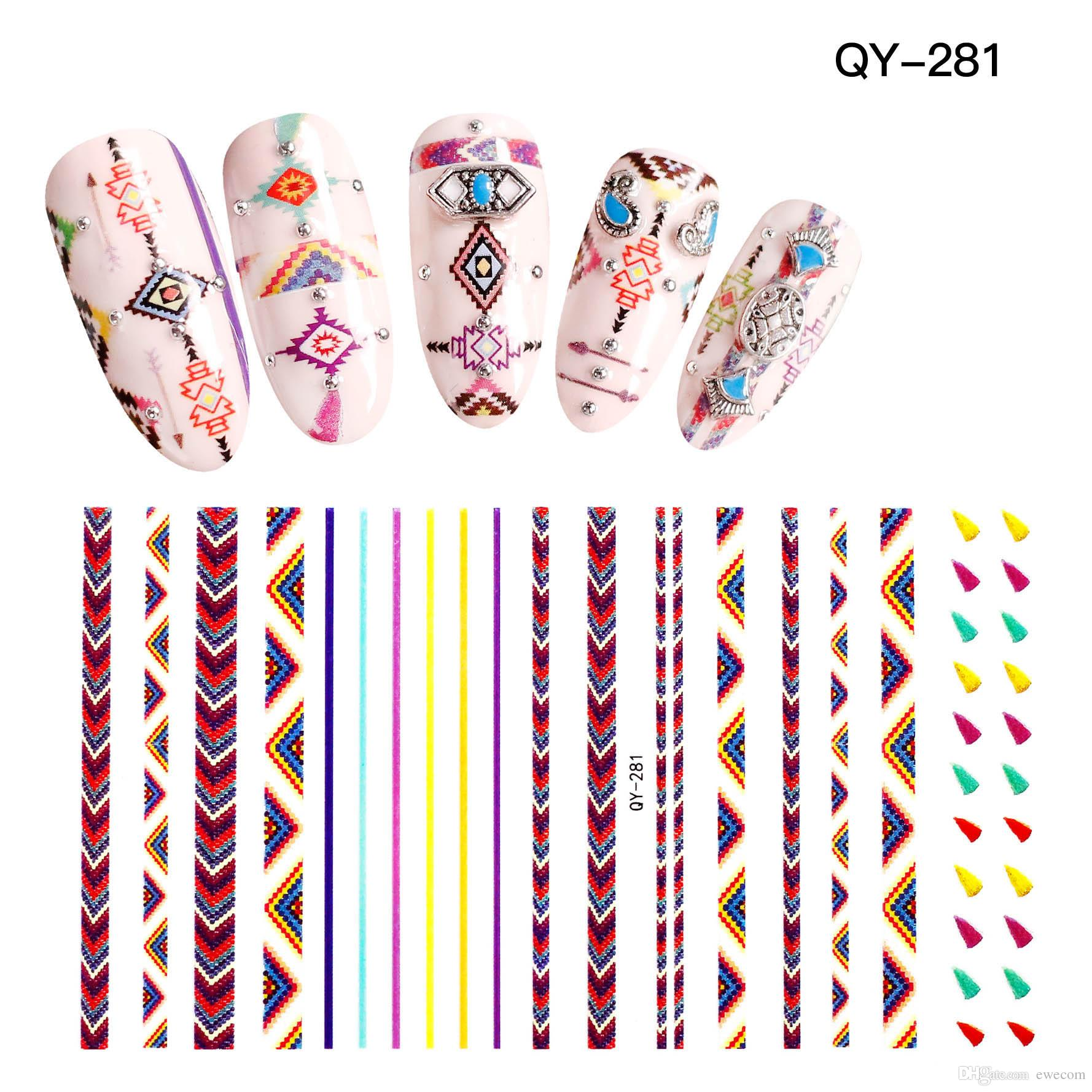 High Quality Stripe Water Transfer 3D Pattern Nail Sticker Full ... 75b5ac89a8c2
