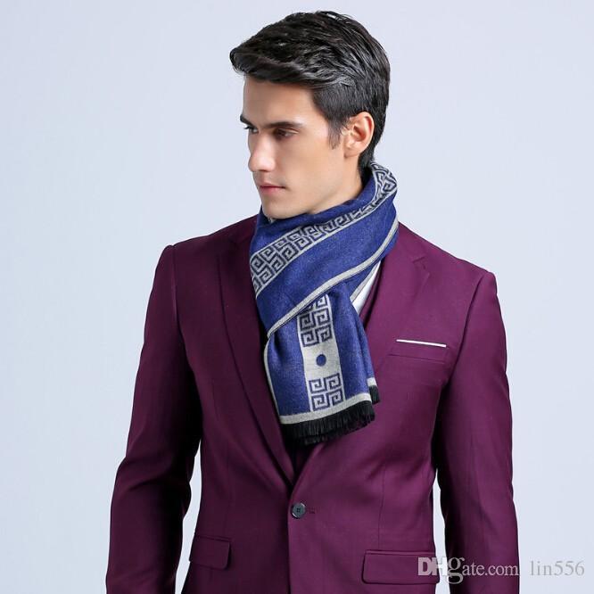 Шарф роскошный дизайнер мужчины классический бизнес теплый кашемировый шарф мягкая кисточкой этническая Шаль обернуть зимний шарф мужчины шарфы