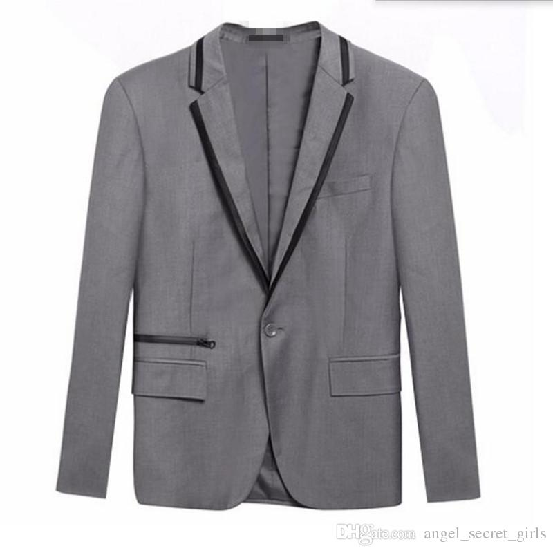Black and grey men suits jacket one button wedding groom dress jacket tailor made fashion formal work suits jacket