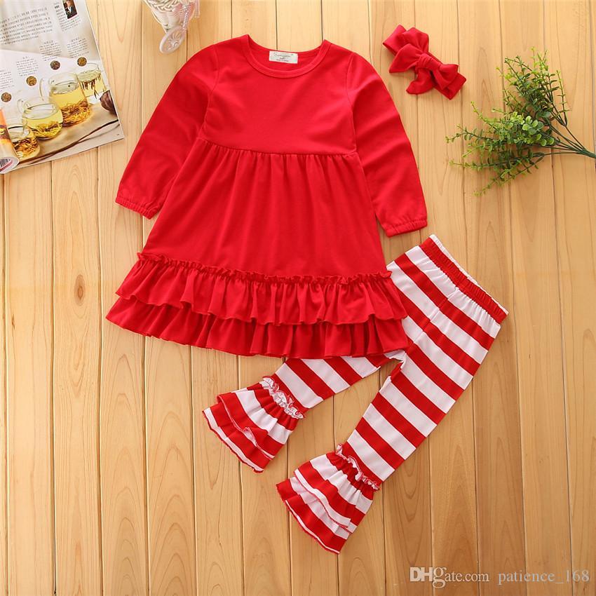 Ins Neue Stile Herbst Kinderanzüge Reine Baumwolle Lange Ärmel Lotus Blatt Solide Farbe T-shirt + rote und weiße gestreifte Spitzenhose + Stirnband