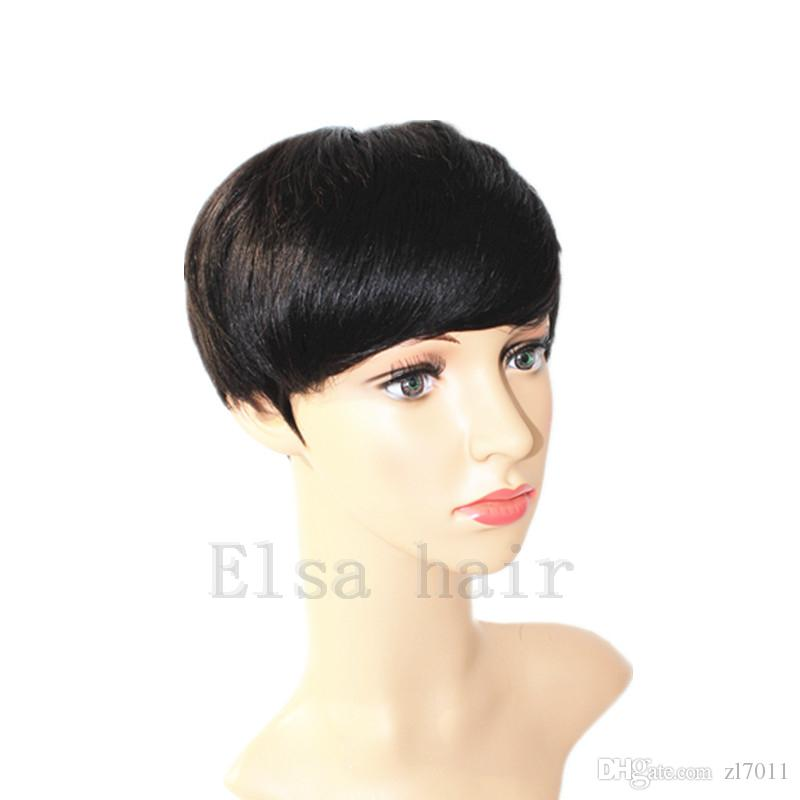 Best human cheap wig with baby hair glueless wigs with bangs for black women Short cut none lace human bob wigs