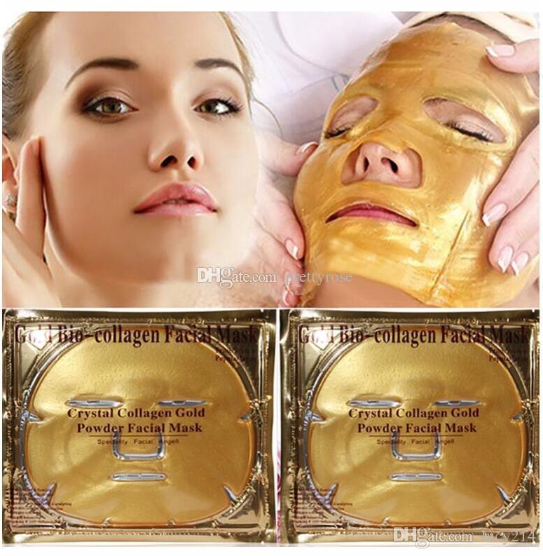 Pas cher en gros or bio-collagène masque facial masque cristal poudre d'or collagène masque facial hydratant anti-vieillissement 24 k or masques