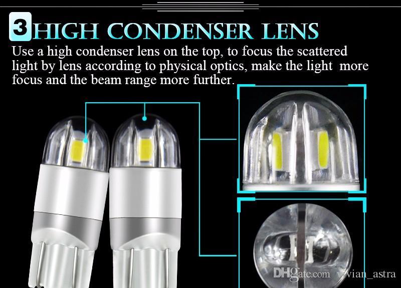 2016 Yeni T10 3030 LED 12 V W5W 168 194 araba ışık Dönüş Yan Plaka Işık araba park Sis boşluğu işık