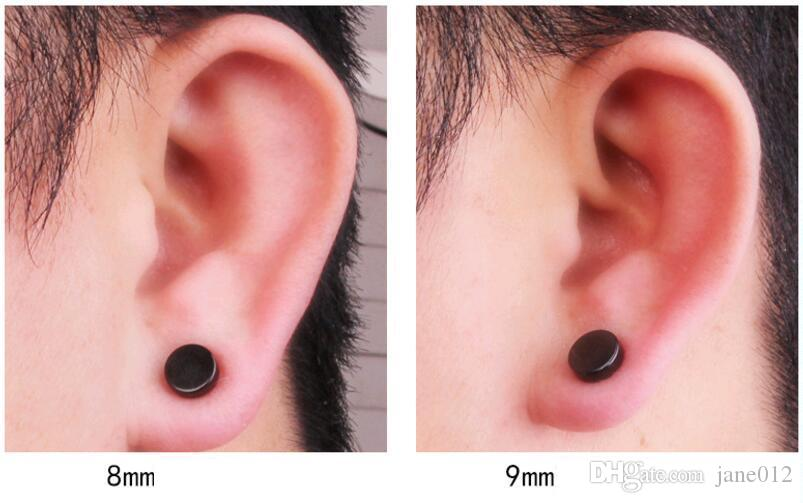 Punk Fake Mens Stud Earrings Black Silver Stainless Steel Magnet Round Ear Clip for Men Mix size 6mm 10mm 12mm