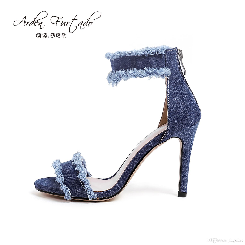 d1568021e5cdd8 Arden Furtado 2018 Summer Shoes For Woman Blue Denim Jeans Sandals Ankle  Wrap High Heels Cover Heel Open Toe Women Back Zipper Stiletto Shoe Shop  Cute Shoes ...