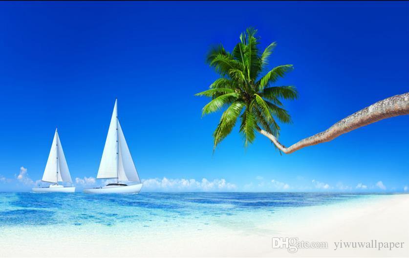 Insel-Kokosnusskreuzschiff-Segelboothintergrund HD Mode-Traum