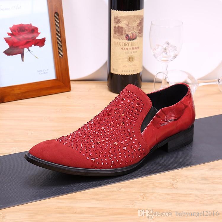 Moda Dedo Apontado Formal Dos Homens Se Vestem Sapatos de Couro Genuíno Dos Homens Sapatos De Cristal Vestido de Festa de Negócios Mocassins Para Os Homens Deslizamento em Apartamentos