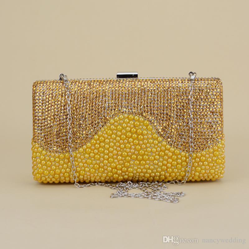 2017 più nuovo design unico perle d'oro con scarpe di strass con borsa coordinata 1,57 pollici piattaforme piattaforme scarpe da sposa da sposa a spillo