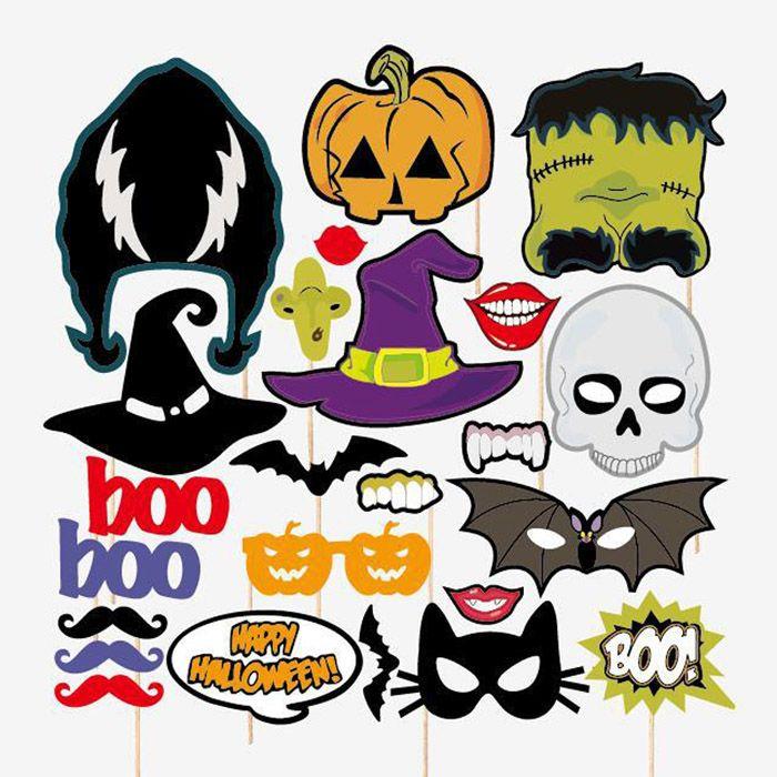 Halloween photo Booth Props masques moustache crâne vampire fantôme bat citrouille lunettes sorcière assistant chapeaux diable